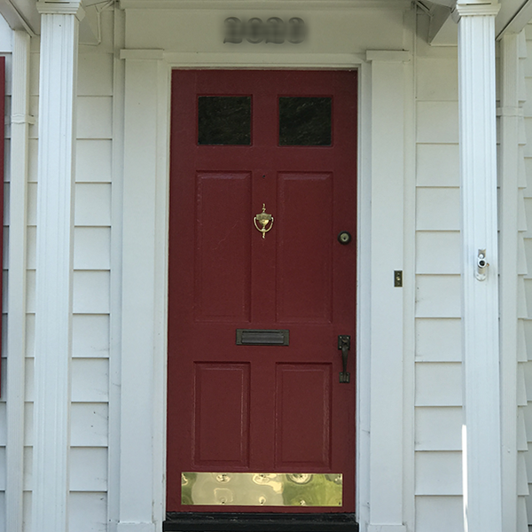 red and gold front door - curb appeal ideas from Annie Meadows, Raleigh Realtor with Hudson Residential